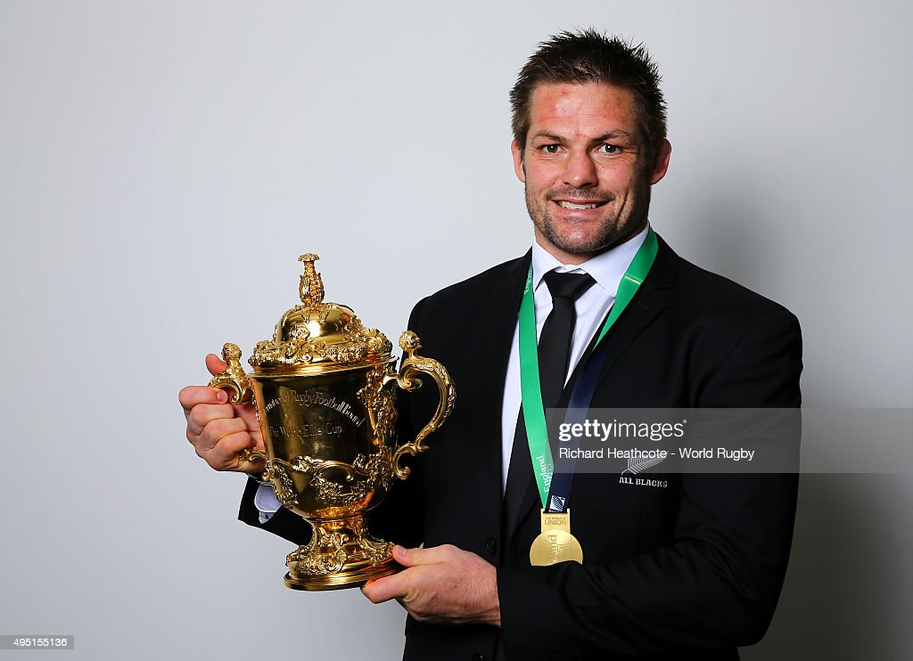 Richie McCaw of the New Zealand All Blacks poses with the Webb Ellis Cup after the 2015 Rugby World Cup Final match between New Zealand and Australia at Twickenham Stadium on October 31, 2015 in London, United Kingdom.