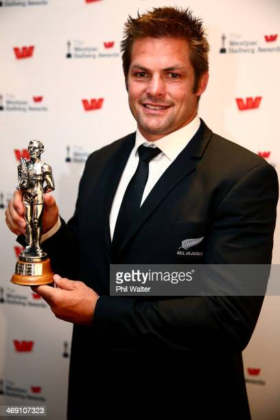 Richie McCaw poses with the Sport New Zealand Leadership Award during the Westpac Halberg Awards at Vector Arena on February 13 2014 in Auckland New...