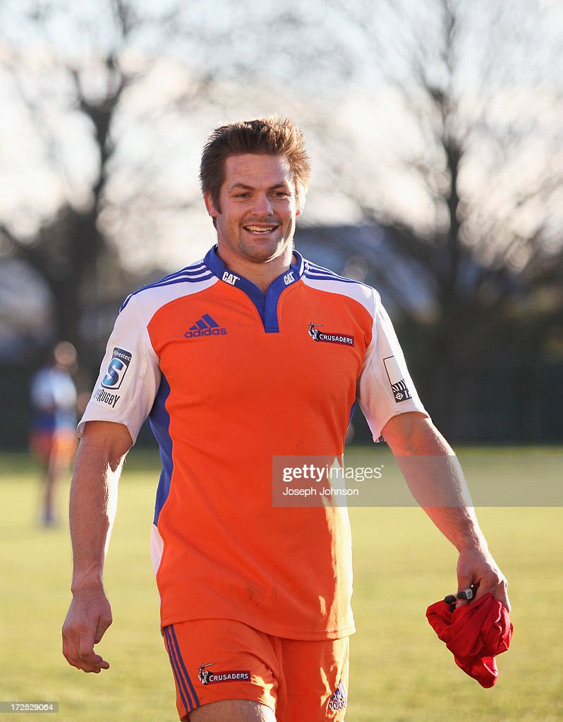 <a gi-track='captionPersonalityLinkClicked' href=/galleries/search?phrase=Richie+McCaw&family=editorial&specificpeople=165235 ng-click='$event.stopPropagation()'>Richie McCaw</a> smiles after a Crusaders Super Rugby training session at Rugby Park on July 3, 2013 in Christchurch, New Zealand.