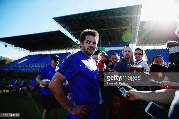 Richie McCaw talks to the media during a New Zealand All Blacks Captain's Run at Apia Park on July 7 2015 in Apia Samoa
