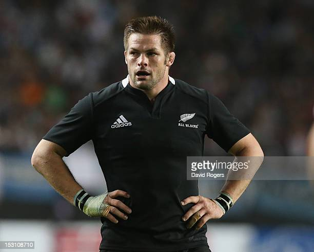 Richie McCaw the All Black captain looks on during the Rugby Championship match between Argentina and the New Zealand All Blacks at Estadio Ciudad de...