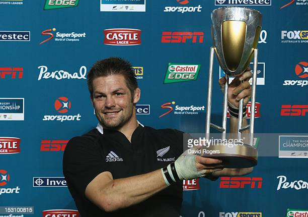 Richie McCaw the All Blacks captain celebrates after his team win the inaugural Rugby Chamionship after their victory in the Rugby Championship match...