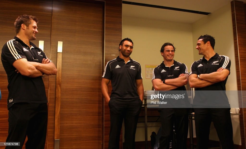 Richie McCaw Victor Vito Zac Guildford and Dan Carter of the All Blacks look on as the New Zealand All Black team is named for the 2011 Rugby World...