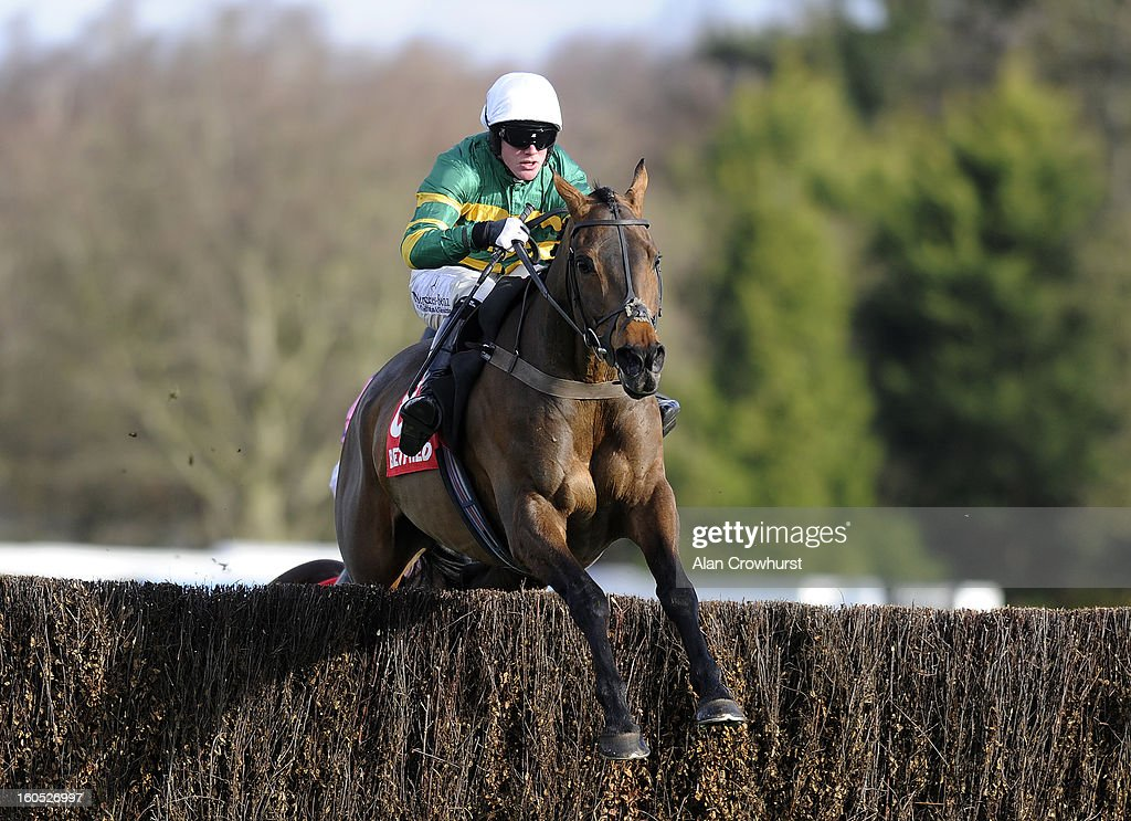 Richie McLernon riding Eastlake clear the last to win The Betfred 'The Home Of Goals Galore Handicap Steeple Chase at Sandown racecourse on January 02, 2013 in Esher, England.