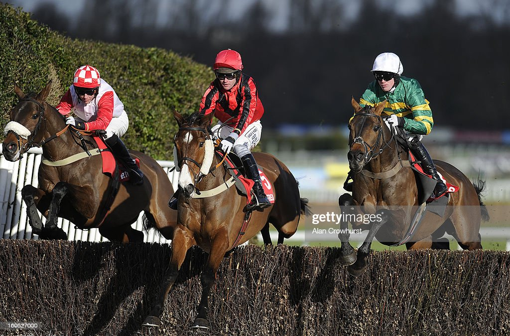Richie McLernon riding Eastlake (R) on their way to winning The Betfred 'The Home Of Goals Galore Handicap Steeple Chase at Sandown racecourse on January 02, 2013 in Esher, England.