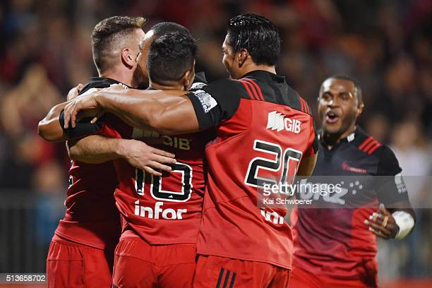 Richie Mounga of the Crusaders celebrates scoring a try with his teammates during the round two Super Rugby match between the Crusaders and the Blues...