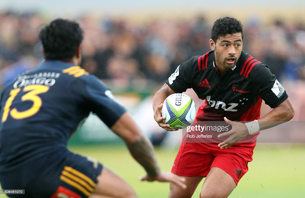 Richie Mounga of the Crusaders on the attack during the Super Rugby trial match between the Highlanders and the Crusaders at Fred Booth Park on February 11, 2016 in Waimumu, New Zealand.