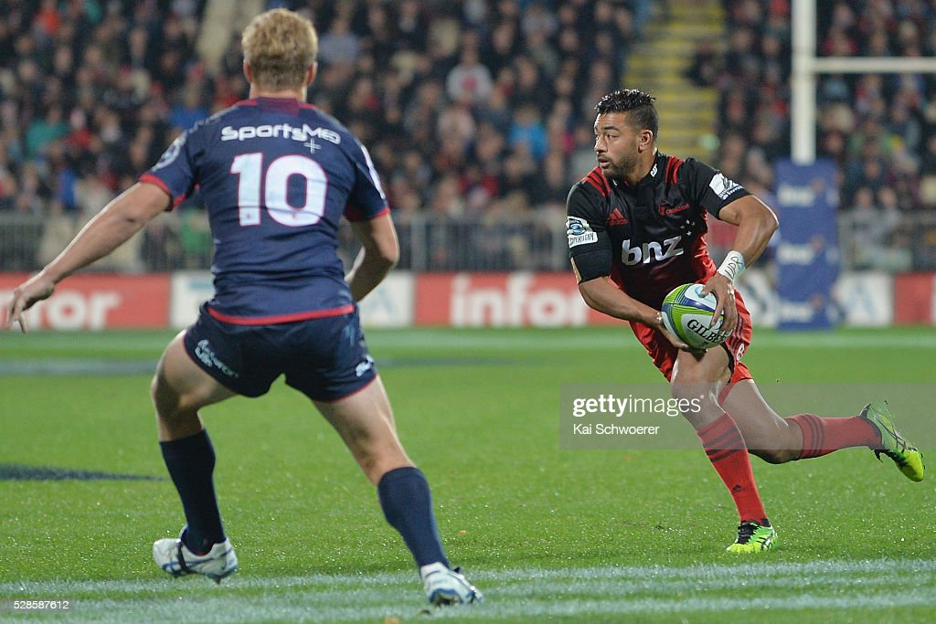 Richie Mounga of the Crusaders runs with the ball during the round 11 Super Rugby match between the Crusaders and the Reds at AMI Stadium on May 6, 2016 in Christchurch, New Zealand.
