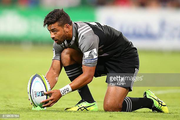 Richie Mo'unga of the Crusaders sets the ball up on the tee for a conversion kick during the round seven Super Rugby match between the Force and the...