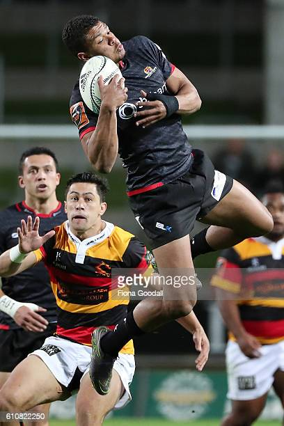Richie Mo'unga takes the high ball for Canterbury during the round seven Mitre 10 Cup match between Waikato and Canterbury on September 28 2016 in...