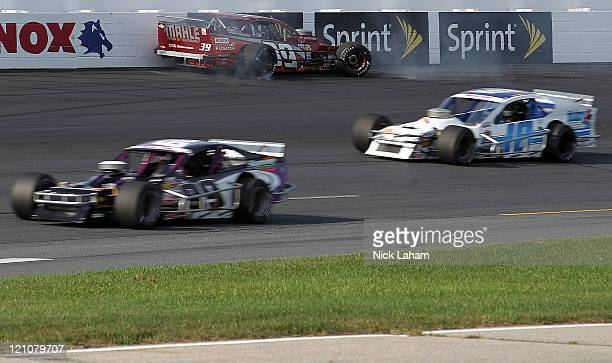 Richie Pallai Jr crashes the Bosch Spark Plugs Chevrolet during the NASCAR Whelen Modified Tour Granite State Classic at New Hampshire Motor Speedway...