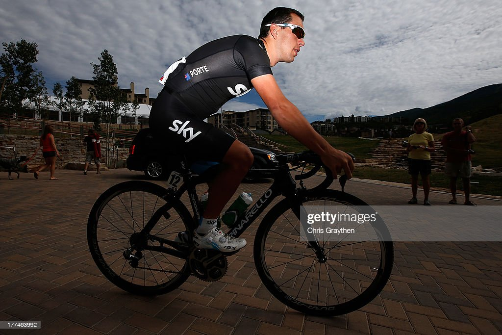 <a gi-track='captionPersonalityLinkClicked' href=/galleries/search?phrase=Richie+Porte&family=editorial&specificpeople=4836819 ng-click='$event.stopPropagation()'>Richie Porte</a> of Australia and Sky Procyclig rides to the start line during stage four of the 2013 USA Pro Cycling Challenge from Steamboat Springs to Beaver Creek on August 22, 2013 in Steamboat Springs, Colorado.