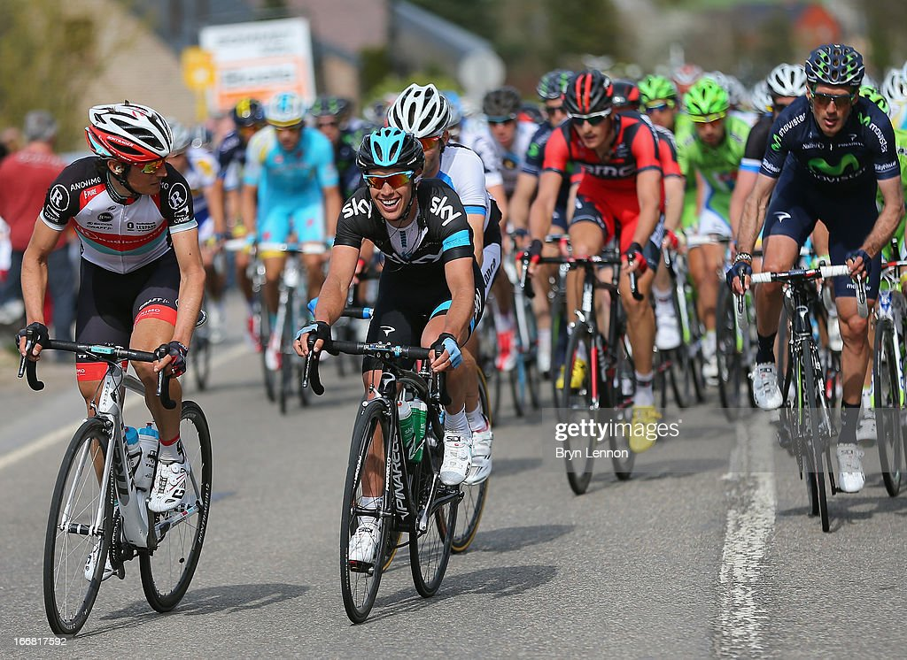 <a gi-track='captionPersonalityLinkClicked' href=/galleries/search?phrase=Richie+Porte&family=editorial&specificpeople=4836819 ng-click='$event.stopPropagation()'>Richie Porte</a> of Australia and SKY Procycling chats to Mathew Busche of the USA and Radioshack Leopard during the 77th edition of La Fleche Wallonne cycle race from Binche to Huy on April 17, 2013 in Huy, Belgium.