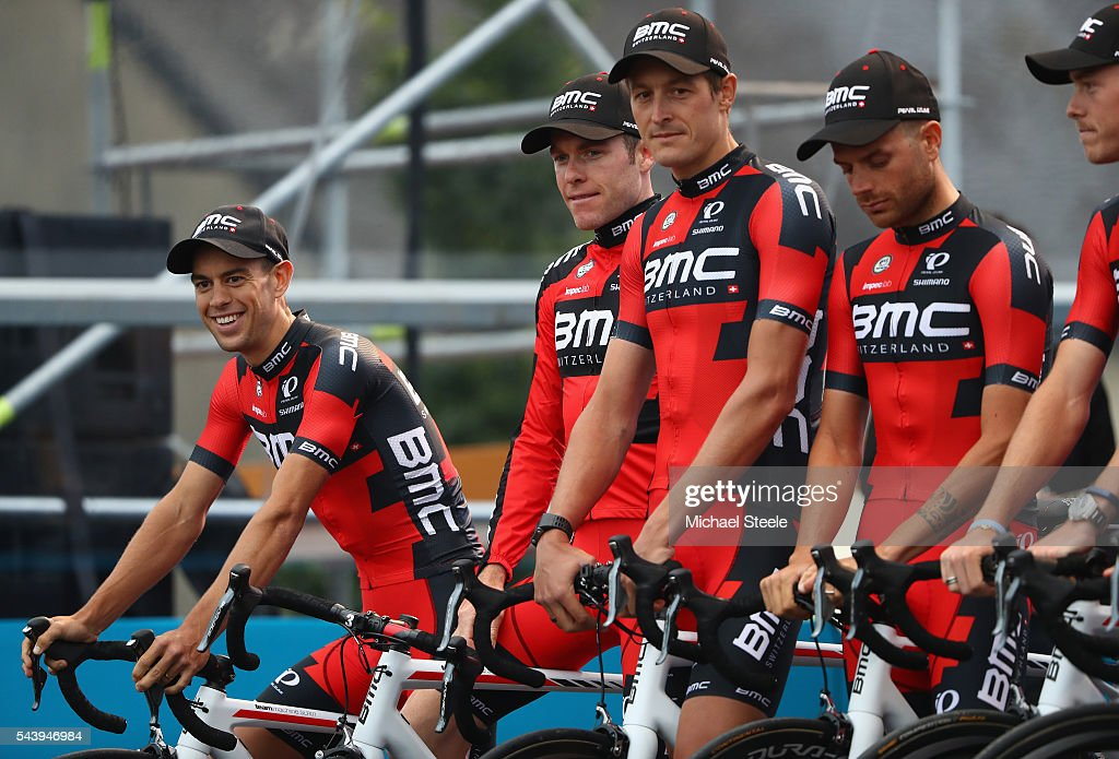 <a gi-track='captionPersonalityLinkClicked' href=/galleries/search?phrase=Richie+Porte&family=editorial&specificpeople=4836819 ng-click='$event.stopPropagation()'>Richie Porte</a> (L) of Australia and team leader of BMC Racing Team looks on during the team presentations on June 30, 2016 in Sainte-Mere-Eglise, France.