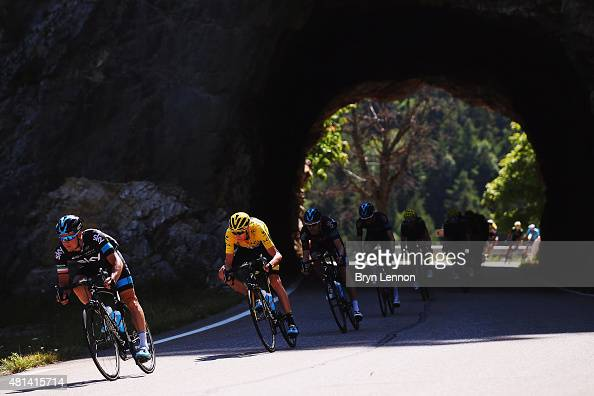 Richie Porte of Australia and Team Sky and Chris Froome of Great Britain and Team Sky head the peloton during the sixteenth stage of the 2015 Tour de...