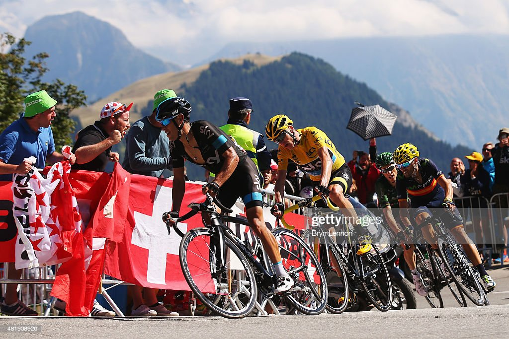 <a gi-track='captionPersonalityLinkClicked' href=/galleries/search?phrase=Richie+Porte&family=editorial&specificpeople=4836819 ng-click='$event.stopPropagation()'>Richie Porte</a> of Australia and Team Sky, <a gi-track='captionPersonalityLinkClicked' href=/galleries/search?phrase=Chris+Froome&family=editorial&specificpeople=5428054 ng-click='$event.stopPropagation()'>Chris Froome</a> of Great Britain and Team Sky and <a gi-track='captionPersonalityLinkClicked' href=/galleries/search?phrase=Alejandro+Valverde&family=editorial&specificpeople=193419 ng-click='$event.stopPropagation()'>Alejandro Valverde</a> of Spain and Movistar Team ride during the twentieth stage of the 2015 Tour de France, a 110.5 km stage between Modane Valfrejus and L'Alpe d'Huez on July 25, 2015 in Modane Valfrejus, France.