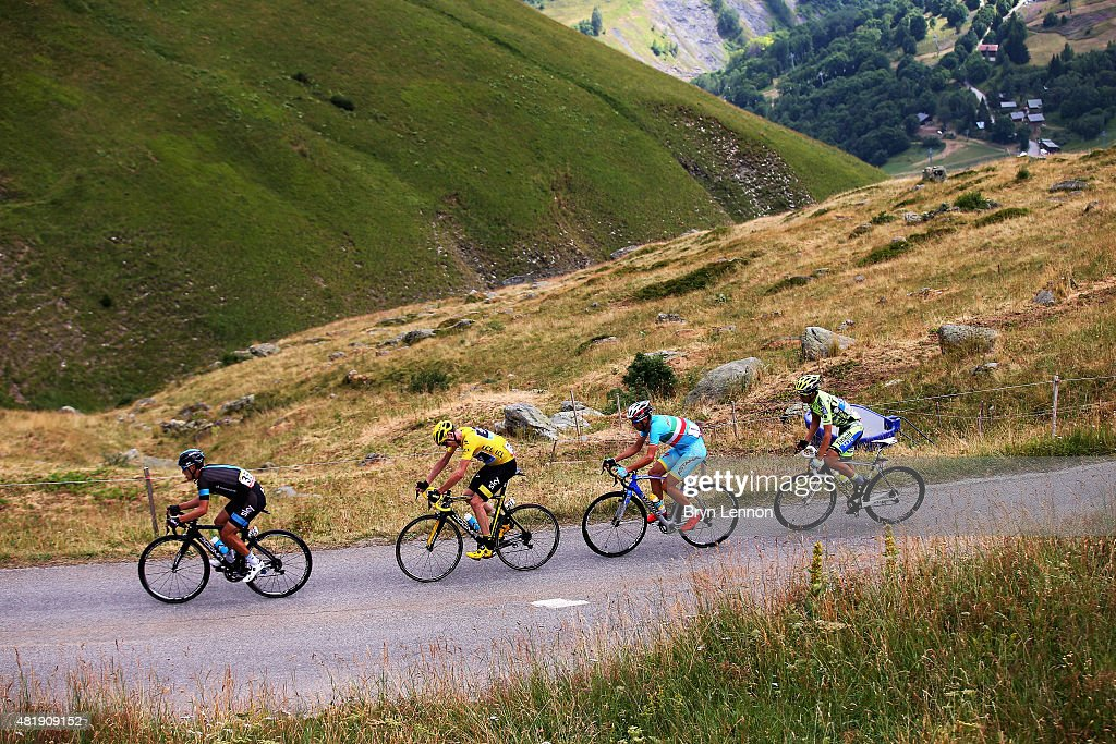 Richie Porte of Australia and Team Sky, Chris Froome of Great Britain and Team Sky, Vincenzo Nibali of Italy and Astana Pro Team and Alberto Contador of Spain and Tinkoff-Saxo ride during the twentieth stage of the 2015 Tour de France, a 110.5 km stage between Modane Valfrejus and L'Alpe d'Huez on July 25, 2015 in Modane Valfrejus, France.