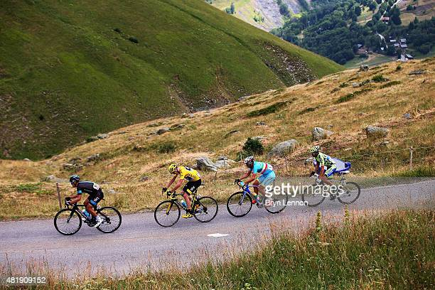 Richie Porte of Australia and Team Sky Chris Froome of Great Britain and Team Sky Vincenzo Nibali of Italy and Astana Pro Team and Alberto Contador...