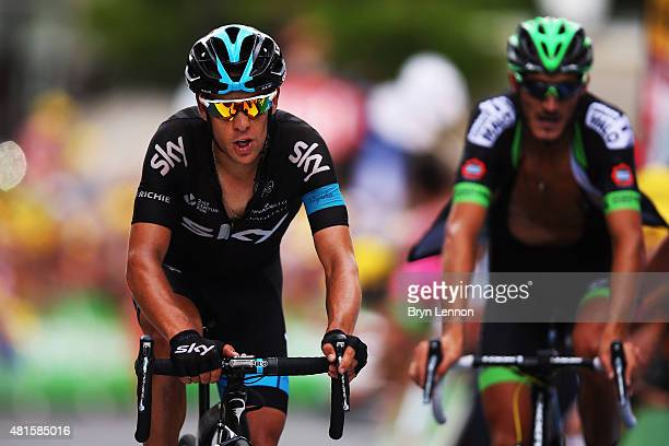 Richie Porte of Australia and Team SKY crosses the finish line on stage seventeen of the 2015 Tour de France a161km stage between DigneLesBains and...