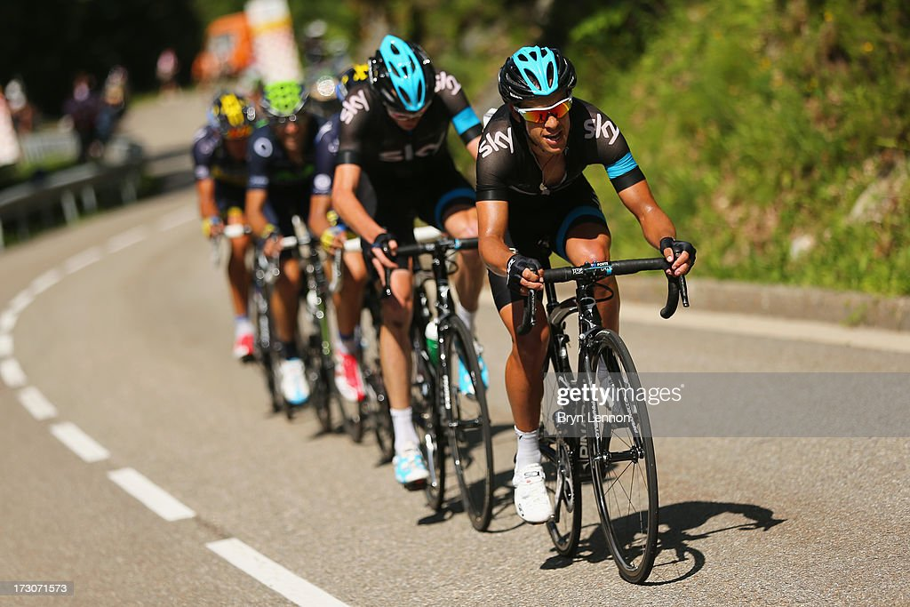 <a gi-track='captionPersonalityLinkClicked' href=/galleries/search?phrase=Richie+Porte&family=editorial&specificpeople=4836819 ng-click='$event.stopPropagation()'>Richie Porte</a> of Australia and Team Sky in action during stage eight of the 2013 Tour de France, a 195KM road stage from Castres to Ax 3 Domaines, on July 6, 2013 in Ax 3 Domaines, France.