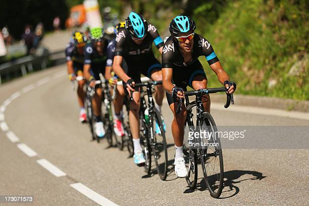Richie Porte of Australia and Team Sky in action during stage eight of the 2013 Tour de France a 195KM road stage from Castres to Ax 3 Domaines on...