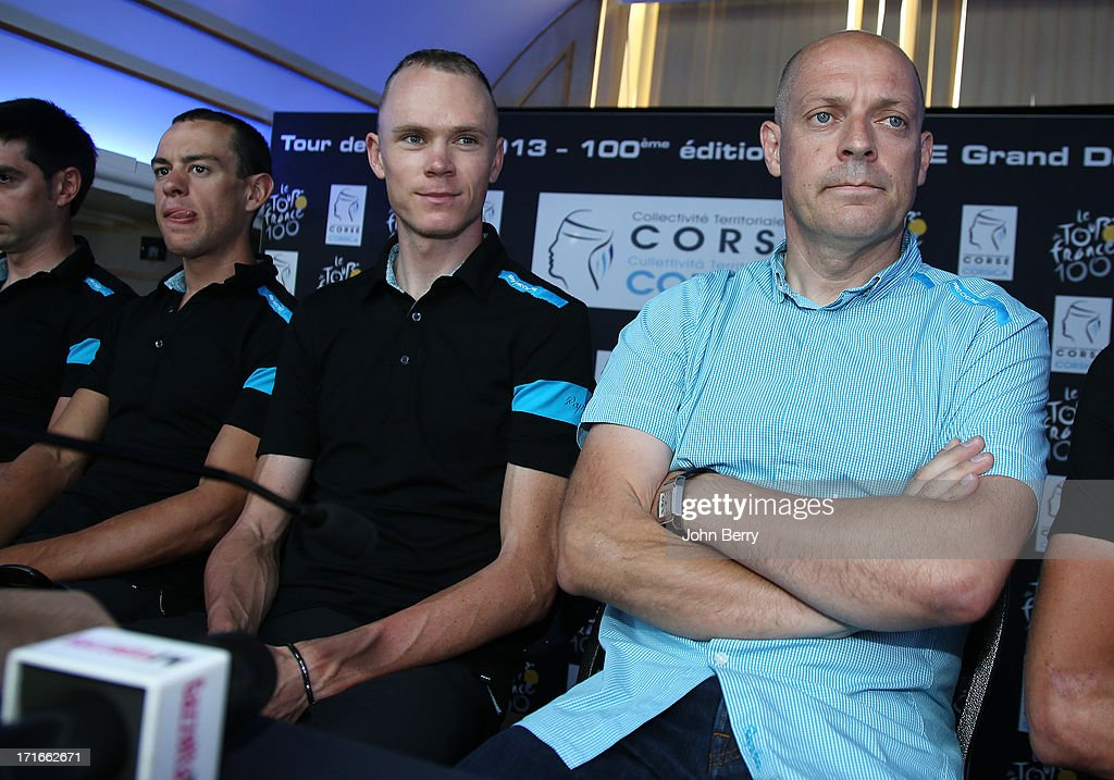 Richie Porte of Australia and Team Sky Pro Cycling, teammate Chris Froome of Great Britain and team manager Sir Dave Brailsford during the press day prior to the start of the Tour de France 2013 on June 27, 2013 in Porto-Vecchio, France.