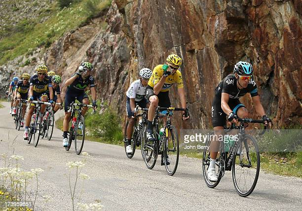 Richie Porte of Australia and Team Sky Procycling Christopher Froome of Great Britain and Team Sky Procycling Nairo Quintana of Colombia and Movistar...