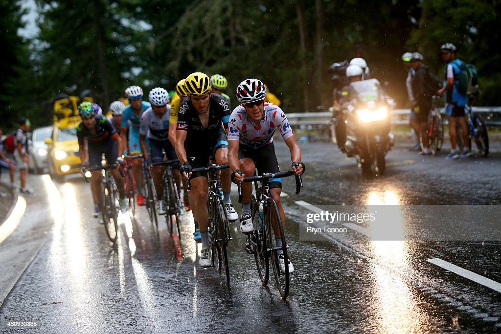 <a gi-track='captionPersonalityLinkClicked' href=/galleries/search?phrase=Richie+Porte&family=editorial&specificpeople=4836819 ng-click='$event.stopPropagation()'>Richie Porte</a> of Australia and Team Sky rides ahead of <a gi-track='captionPersonalityLinkClicked' href=/galleries/search?phrase=Geraint+Thomas&family=editorial&specificpeople=804304 ng-click='$event.stopPropagation()'>Geraint Thomas</a> of Great Britain and Team Sky, <a gi-track='captionPersonalityLinkClicked' href=/galleries/search?phrase=Chris+Froome&family=editorial&specificpeople=5428054 ng-click='$event.stopPropagation()'>Chris Froome</a> of Great Britain and Team Sky, Nairo Alexander Quintana Rojas of Colombia and Movistar Team and <a gi-track='captionPersonalityLinkClicked' href=/galleries/search?phrase=Alejandro+Valverde&family=editorial&specificpeople=193419 ng-click='$event.stopPropagation()'>Alejandro Valverde</a> Belmonte of Spain and Movistar Team during stage twelve of the 2015 Tour de France, a 195 km stage between Lannemezan and Plateau de Beille, on July 16, 2015 in Plateau de Beille, France.