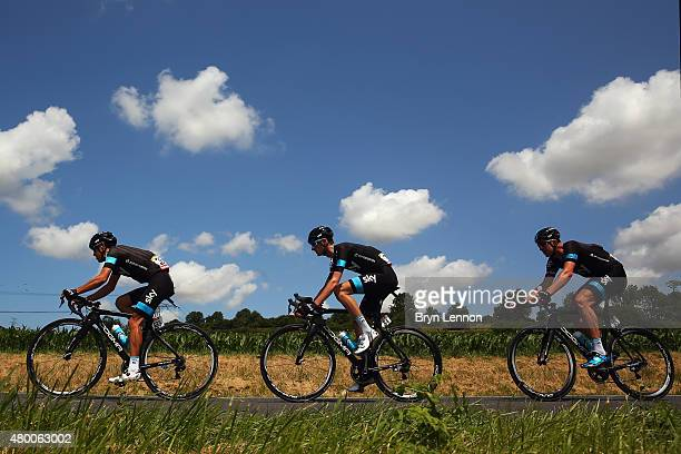Richie Porte of Australia and Team Sky Wouter Poels of the Netherlands and Team Sky and Ian Stannard of Great Britain and Team Sky ride during stage...