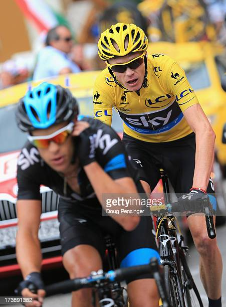 Richie Porte of Australia riding for Sky Procycling is followed by his team leader Chris Froome of Great Britain riding for Sky Procycling in the...