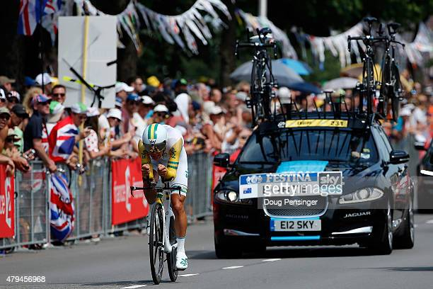 Richie Porte of Australia riding for Team Sky races to 65th place in the individual time trial in stage one of the 2015 Tour de France on July 4 2015...