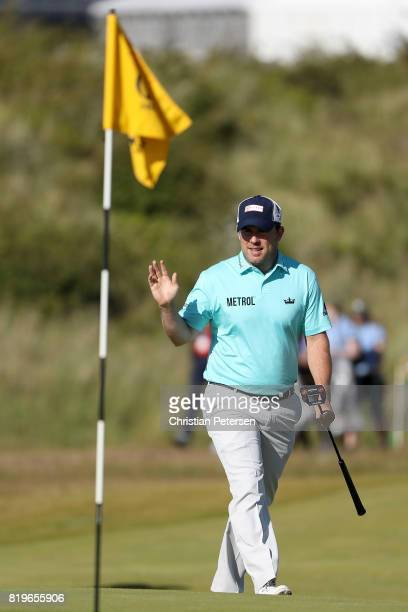 Richie Ramsay of Scotland acknowledges the crowd on the 16th green during the first round of the 146th Open Championship at Royal Birkdale on July 20...