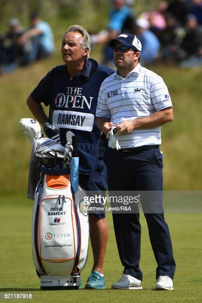Richie Ramsay of Scotland and his caddie on the 5th hole during the final round of the 146th Open Championship at Royal Birkdale on July 23 2017 in...