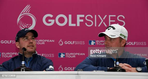 Richie Ramsay of Scotland and Marc Warren of Scotland talking the press during the proam event prior to the Golf Sixes at the Centurion Club on May 5...