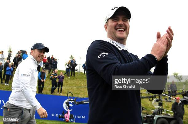 Richie Ramsay of Scotland and Marc Warren of Scotland walking on to the first tee during day one of the Golf Sixes at The Centurion Club on May 6...