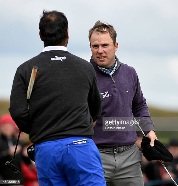 Richie Ramsay of Scotland celebrates after his first round match against Shiv Kapur of India in the Saltire Energy Paul Lawrie Matchplay at Murcar...