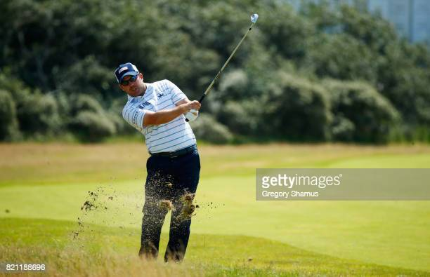 Richie Ramsay of Scotland hits a shot from the rough during the final round of the 146th Open Championship at Royal Birkdale on July 23 2017 in...