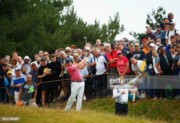 Richie Ramsay of Scotland hits a shot from the rough during the third round of the 146th Open Championship at Royal Birkdale on July 22 2017 in...