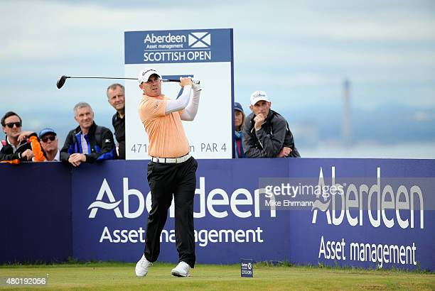 Richie Ramsay of Scotland hits a tee shot on the seventh hole during the second round of the Aberdeen Asset Management Scottish Open at Gullane Golf...