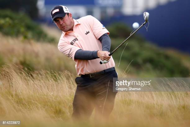 Richie Ramsay of Scotland hits from the rough on the 18th hole during day two of the AAM Scottish Open at Dundonald Links Golf Course on July 14 2017...