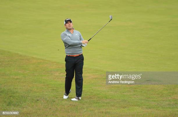 Richie Ramsay of Scotland hits his second shot on the 1st hole during the second round of the 146th Open Championship at Royal Birkdale on July 21...