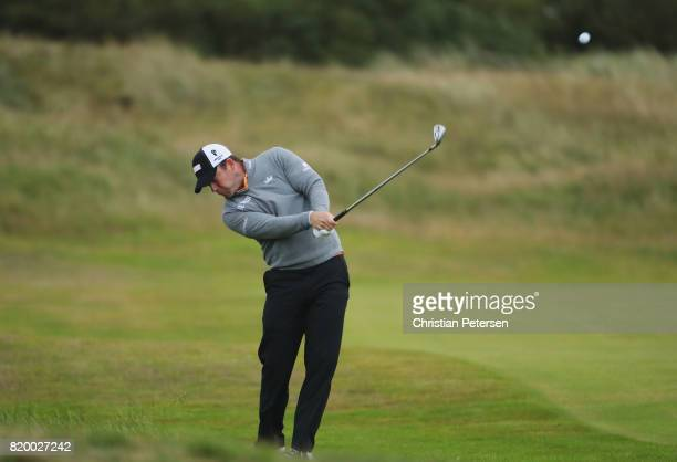 Richie Ramsay of Scotland hits his second shot on the 2nd hole during the second round of the 146th Open Championship at Royal Birkdale on July 21...