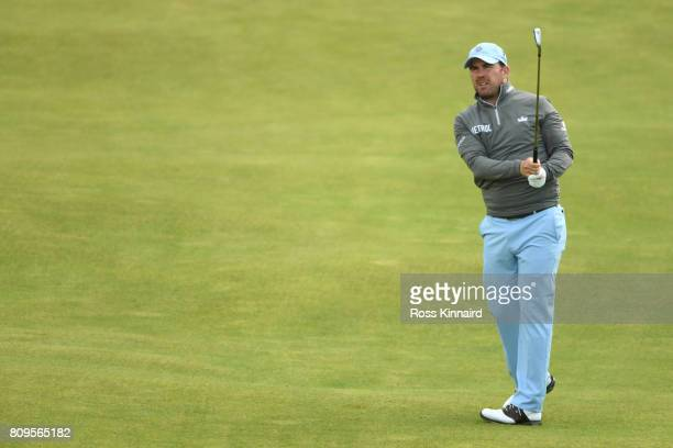 Richie Ramsay of Scotland hits his second shot on the 4th hole during day one of the Dubai Duty Free Irish Open at Portstewart Golf Club on July 6...
