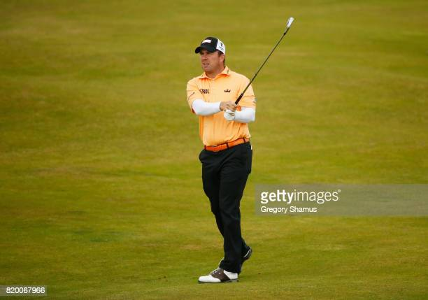 Richie Ramsay of Scotland hits his second shot on the 8th hole during the second round of the 146th Open Championship at Royal Birkdale on July 21...