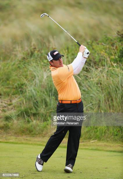 Richie Ramsay of Scotland hits his tee shot on the 7th hole during the second round of the 146th Open Championship at Royal Birkdale on July 21 2017...