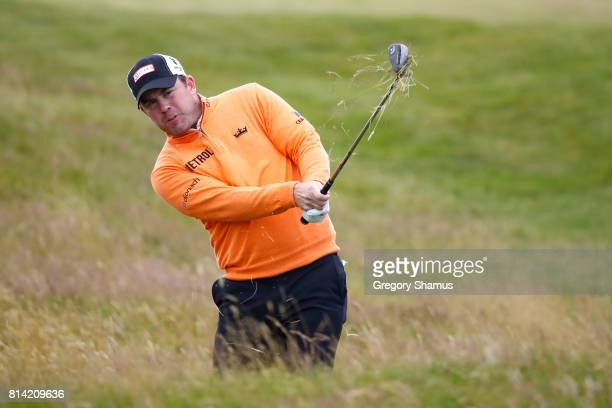 Richie Ramsay of Scotland hits his third shot on the 13th hole during day two of the AAM Scottish Open at Dundonald Links Golf Course on July 14 2017...