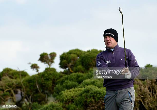 Richie Ramsay of Scotland on the 3rd tee during his first round match against Shiv Kapur of India in the Saltire Energy Paul Lawrie Matchplay at...