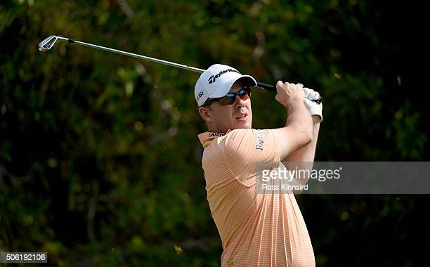 Richie Ramsay of Scotland on the 4th tee during the second round of the Abu Dhabi HSBC Golf Championship at the Abu Dhabi Golf Club on January 22...