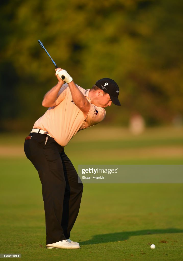 Richie Ramsay of Scotland plays a shot during the second round of The Italian Open at Golf Club Milano - Parco Reale di Monza on October 13, 2017 in Monza, Italy.