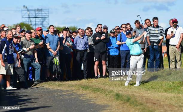 Richie Ramsay of Scotland plays a shot from the rough during the first round of the 146th Open Championship at Royal Birkdale on July 20 2017 in...